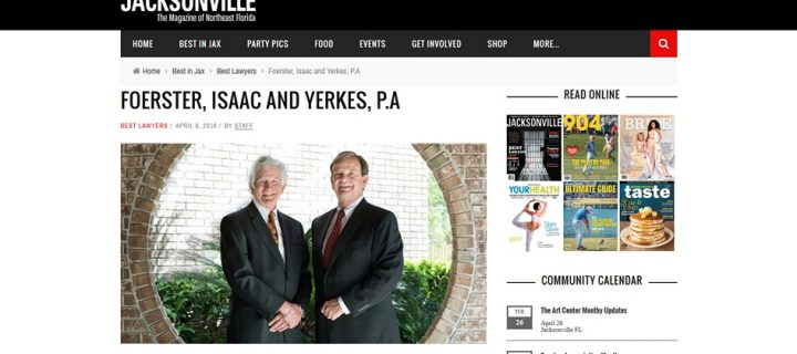 Foerster, Isaac and Yerkes, P.A listed in the 2016Best Lawyers  edition of Jacksonville Magazine
